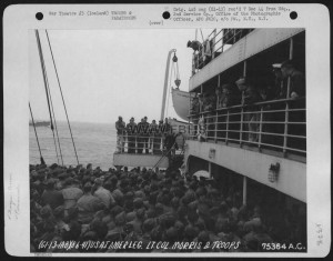Lt. Colonel Morris Speaks To His Troops On Board The U.S.A.T. American Legion While Enroute To Iceland. 6 August 1941.